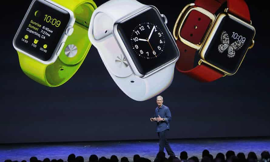 Apple CEO Tim Cook introduces Apple's new smartwatch in Cupertino, California in September 2014.