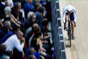 Jessica Varnish of Great Britain competes in the women's sprint qualifying race.