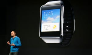 David Singleton, director of engineering for Android, announces a new Samsung Android Wear smartwatch during his keynote address at the Google I/O developers conference in San Francisco in June 2014.