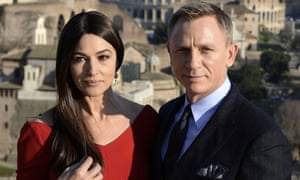 Spectre co-stars Monica Bellucci and Daniel Craig in Rome.