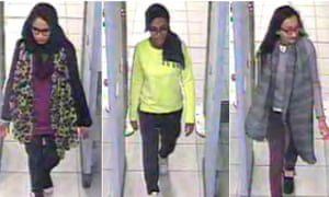 CCTV footage shows Shamima Begun, Amira Abase and Kadiza Sultana walking through security at Gatwick airport before boarding a flight to Turkey.