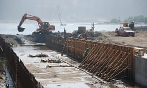 The construction of a new lagoon designed to prevent flooding.