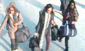 Police CCTV footage shows (from left) teenagers Amira Abase, Kadiza Sultana and Shamina Begum  at Gatwick airport.