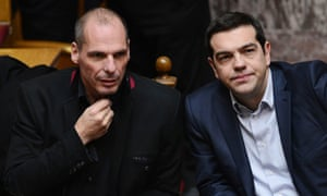 Greek finance minister Yianis Varoufakis, left, and Prime Minister Alexis Tsipras