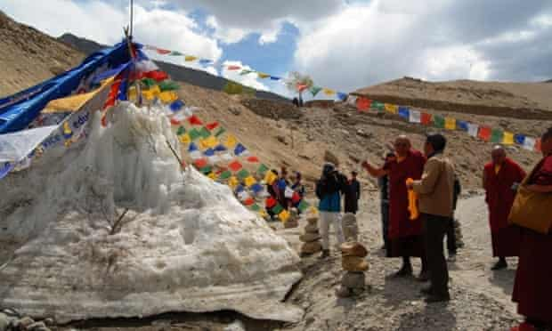 Ice Stupa Artificial Glaciers of Ladakh : The Monk (HH the Rinpochey), The Engineer and The Artificial Glacier on 1st of May 2014.