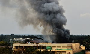 Smoke rises from the Westgate shopping mall in Nairobi, Kenya, in September 2013.