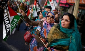 Women from Western Sahara demonstrate in Madrid in 2013. The desert territory in north Africa has been under Moroccan control since 1975.