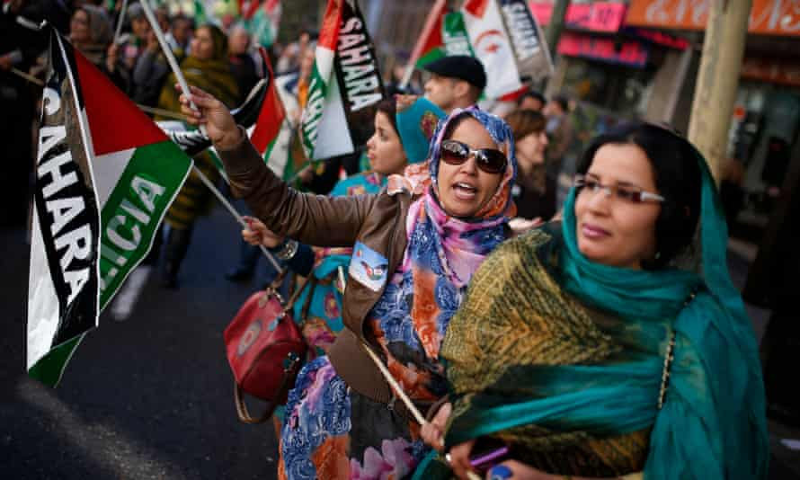 Women from Western Sahara demonstrate in Madrid in 2013.