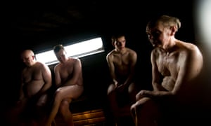 Finns in a public sauna in Helsinki. The study found several saunas a week gave the most benefits.