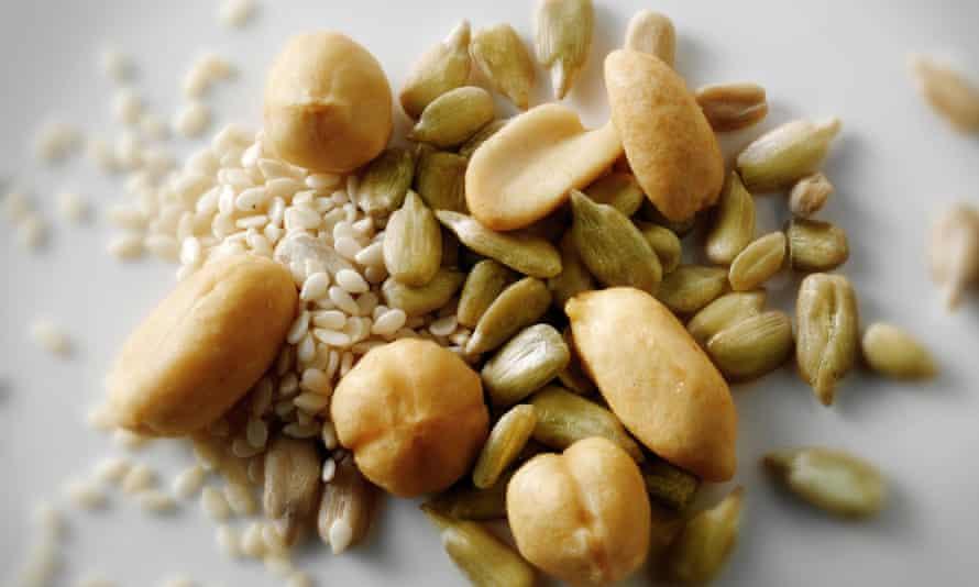 Peanuts, sunflower seeds and sesame seeds
