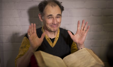 The actor Mark Rylance with a newly discovered first folio of Shakespeare's plays at London's Globe theatre, where he was the first artistic director.