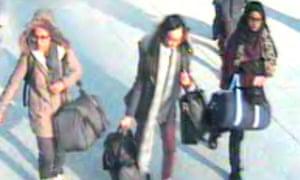 Amira Abase, Kadiza Sultana and Shamima Begum Gatwick Airport Syria