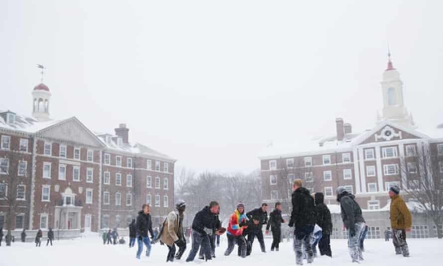 Harvard University campus in snow, Cambridge, Massachusetts