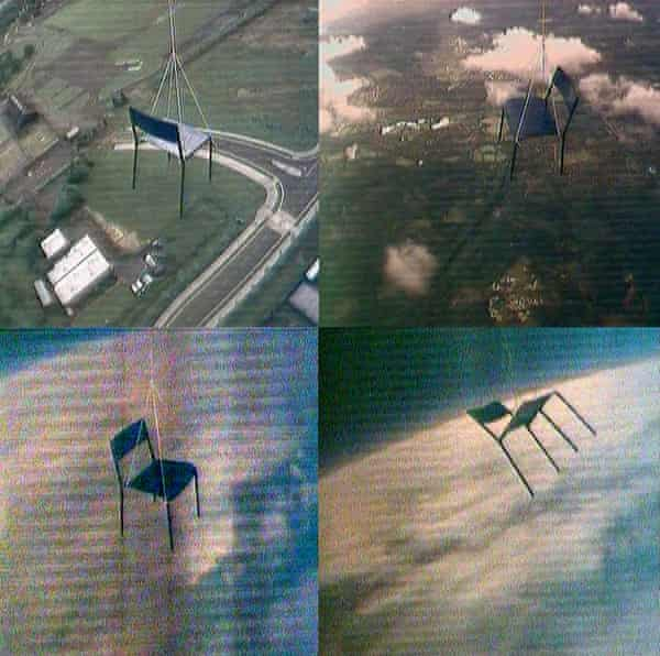 Escape Vehicle no.6 - stills from the video charting the rise of a chair suspended on a weather balloon.