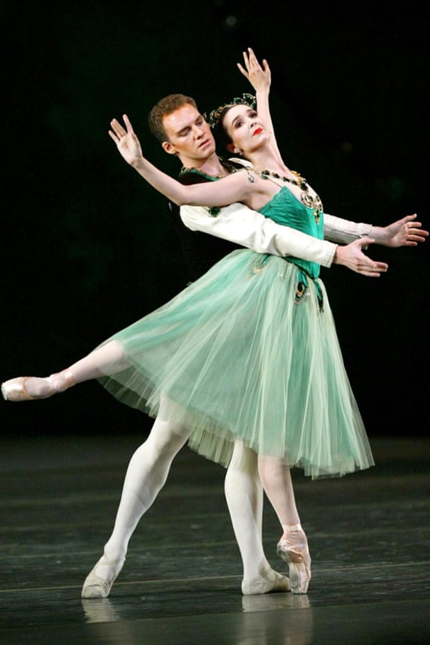 Jenifer Ringer and James Fayette dance in the Emeralds section of Jewels by the New York City Ballet.