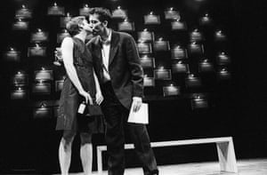 Clive Owen (Dan) and Liza Walker (Alice) in Closer by Patrick Marber the Cottesloe, National Theatre, 1997