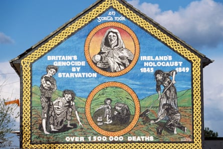 A republican mural in Belfast points blame at Britain for Ireland's potato famine.