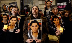 An Amnesty International protest in support of Raif Badawi at the Saudi embassy in London last Sunday.