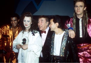 Brits Mikey Craig, Boy George, Jon Moss and Roy Hay with Frankie Howerd