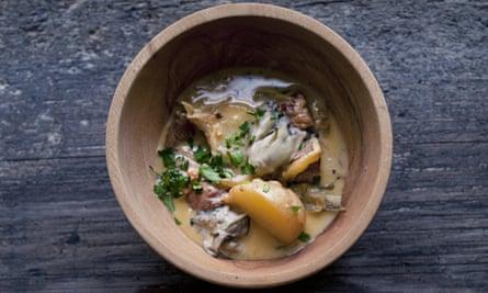 Nigel Slater's pork, fennel and oysters recipe in an earthenware bowl