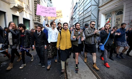 Men march in Istanbul for women's rights after the murder of Özgecan Aslan