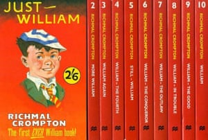 Cover and spines of Just William books, published since the 1920s