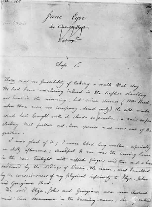The first page of the manuscript of Jane Eyre by Charlotte Brontë, who wrote the novel under the pseudonym Currer Bell – now believed to be taken from local patron Frances Currer.