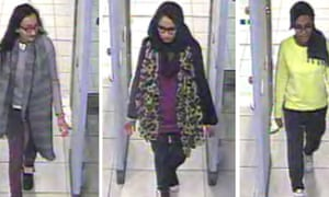 Kadiza Sultana, Shamima Begum and Amira Abase at Gatwick airport en route to Turkey