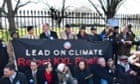 """""""Members of the environmental groups Sierra Club, 350.org, and Committed Citizens demonstrate in front of the White House against the Keystone XL oil sands pipeline in Washington DC, USA, 13 February 2013."""""""