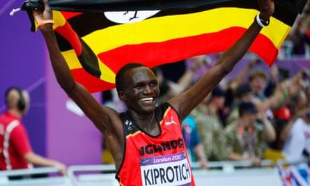 Uganda's Stephen Kiprotich after winning the marathon at the 2012 Olympics