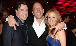 Vin Diesel with John Travolta and Kelly Preston at this year's post-Oscars Vanity Fair party.