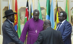 President Salva Kiir and Riek Machar attend a ceasefire ceremony in Addis Ababa last May. After seven unsuccessful attempts to end the civil war in South Sudan, the country could face sanctions.