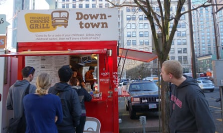 The Grilled Cheese Grill cart on Alder Street, Portland.