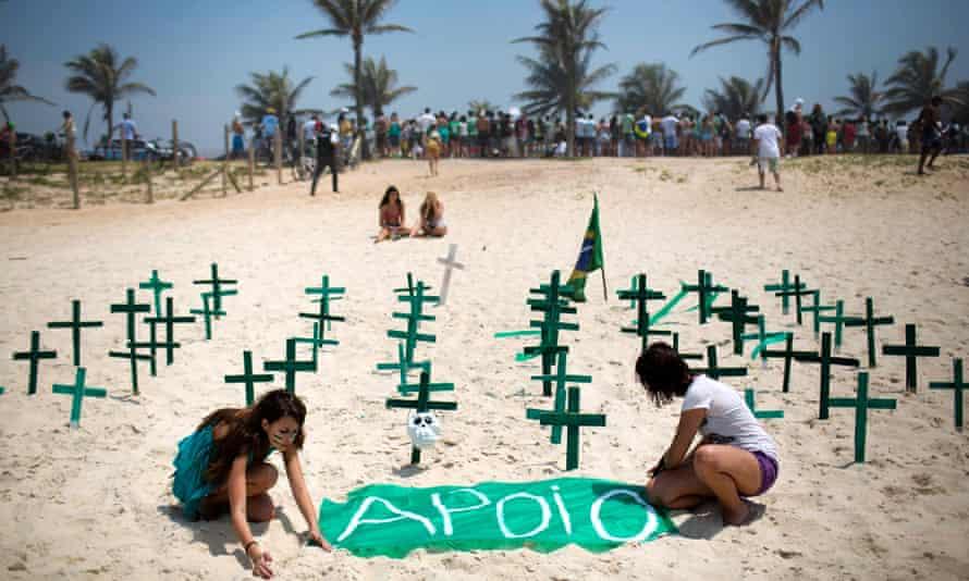 Beach protest in Rio