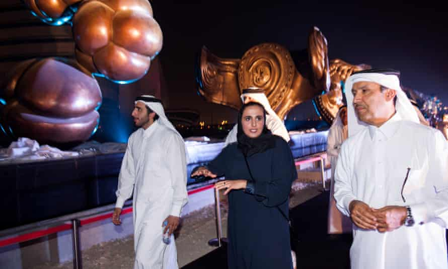 Sheika Al-Mayassa bint Hamad Al-Thani, unveiling of the installation by British artist Damien Hirst, The Miraculous Journey, 14 massive bronze sculptures show the gestation of a human being from conception to birth, Sidra Medical and Research Centre, Doha, Qatar.
