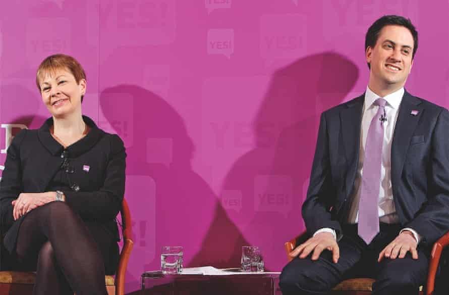 Caroline Lucas with Ed Miliband