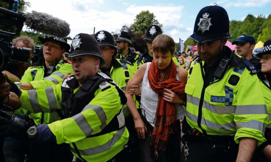 Caroline Lucas being arrested during a 2013 anti-fracking demo