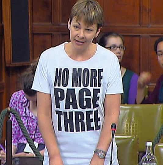 Caroline Lucas wearing a No More Page Three T-shirt during a Commons debate on media sexism
