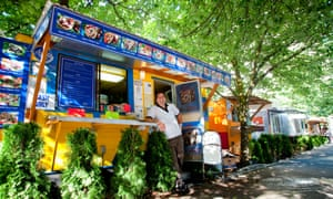 Owner & Chef Saied Samaiel in front of his Aybala Mediterranean Grill food cart in Portland, Oregon.