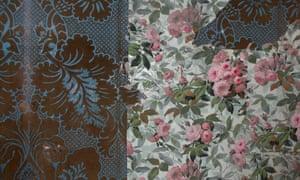 Original wallpapers in bedchamber, Strawberry Hill.