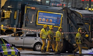The crashed bin lorry in Glasgow on 22 December 2014.