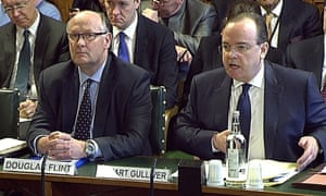 Douglas Flint and Stuart Gulliver appear before the Treasury select committee on Wednesday.