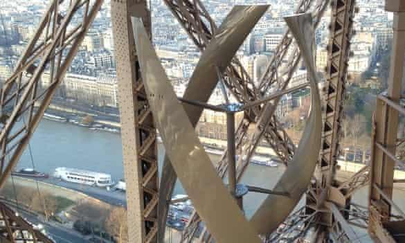 Wind turbine installed on the Eiffel Tower in Paris