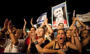 Demonstrators in Tel Aviv protesting house prices and social inequality in Israel, 2011