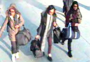 Left to right, British schoolgirls Amira Abase, Kadiza Sultana and Shamima Begum at Gatwick airport.