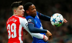 Monaco's Anthony Martial in action with Arsenal's Hector Bellerin.