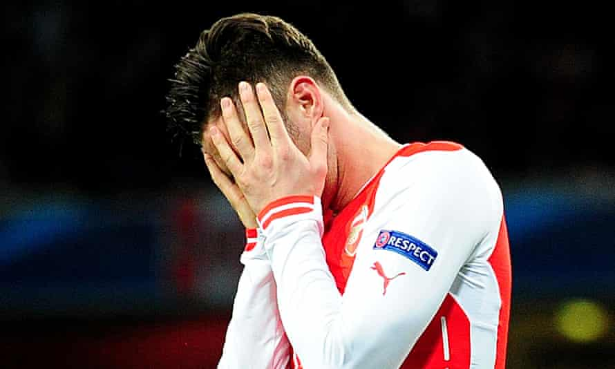 Olivier Giroud shows his dejection