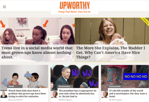 A screenshot of the Upworthy homepage