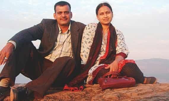 Missing MH370 passenger KrantiShirsath, with husband Pralhad