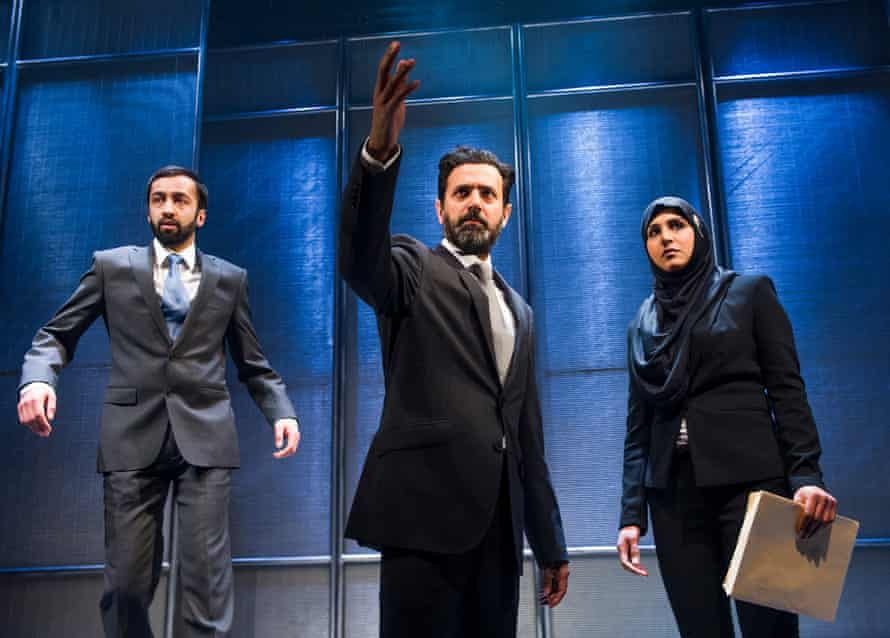 'Boldly airs points of view we rarely hear on the British stage' … Asif Khan (Julian), Navin Chowdhry (Kash) and Maya Sondhi (Sam) in Multitudes.
